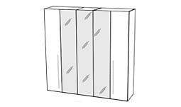 спальня platinum: Шкаф 5-ти дв. с зеркалами